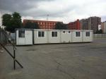 le baracche di cantiere viste dall'ingresso